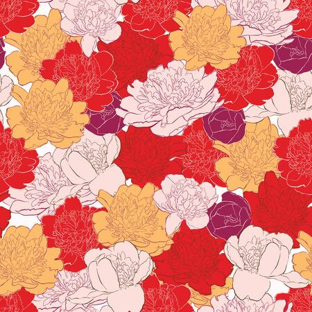 Seamless background with peony flowers Illustration
