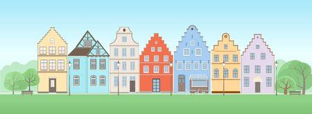 facade: Facade of old houses Illustration