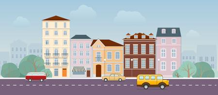 paysage urbain avec b�timents rues et les voitures de la circulation