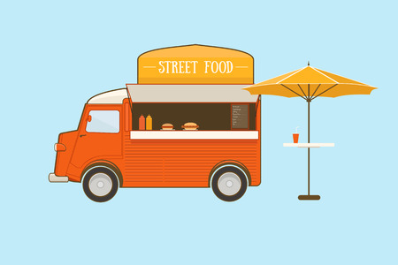 of food: Street food truck with umbrella on blue background Illustration