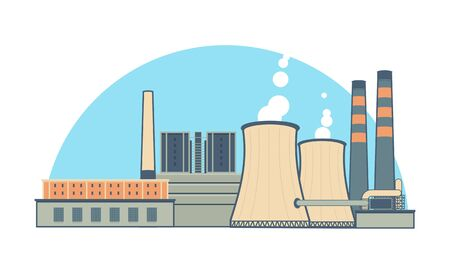 cooling towers: Industrial Power Plant Illustration