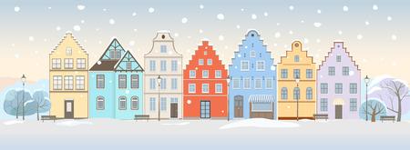 Hiver paysage urbain avec r�tro maisons Illustration