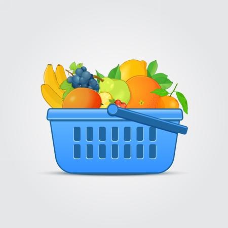 banana bread: Shopping Basket with Fresh Fruit Illustration