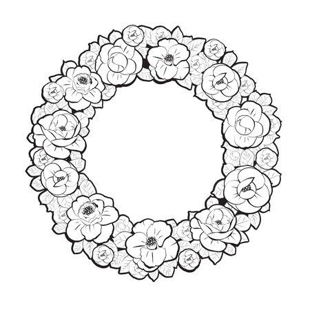 marcos redondos: La guirnalda floral en estilo Negro y Blanco
