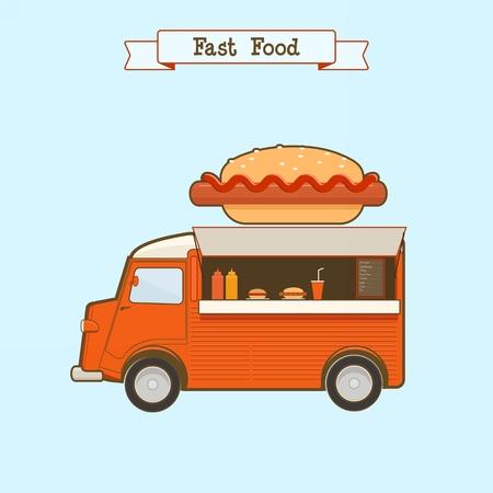 Vector illustration de camion de nourriture rapide sur fond bleu