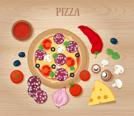 pizza ingredients: Pizza and Ingredients on Wooden Background