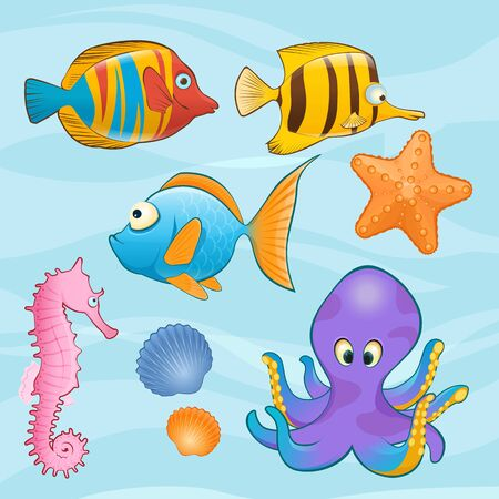 vector fish: Set of Sea Animals on Blue Background