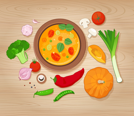 vegetable soup: Vegetable Soup and Ingredients on Wooden Background. Top view