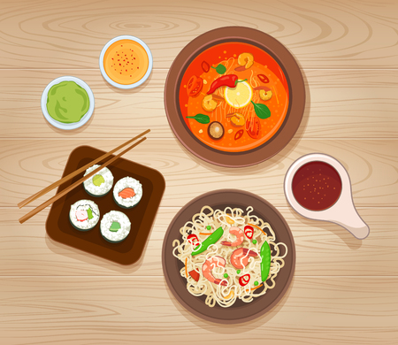 Illustration with Different Types of Asian Cuisine Çizim