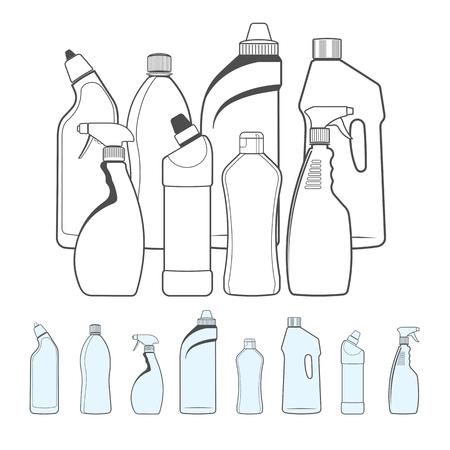 Bouteilles de produits de nettoyage � style de contour