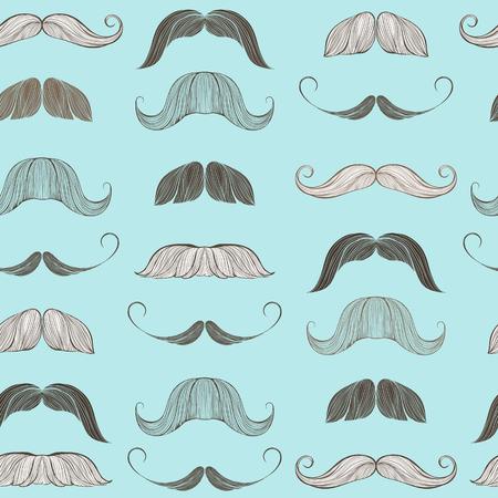 male silhouette: Hand drawn mustache seamless pattern Illustration