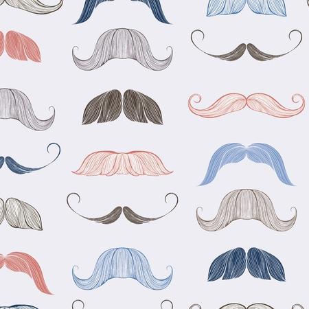 Hand drawn mustache seamless pattern Vettoriali