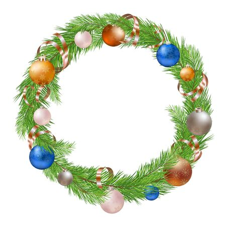 christmas decorations with white background: Christmas Wreath with Decorations on White Background Illustration