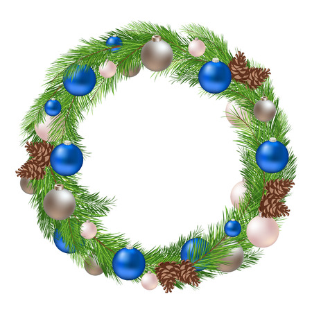 blue ball: Christmas Wreath with Decorations and Pine Cones on White Background Illustration