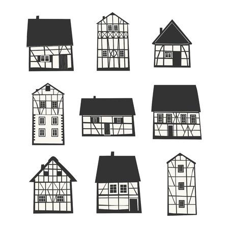 Ensemble de traditionnelles maisons à colombages