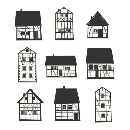 half timbered: Set of Traditional Half Timbered Houses