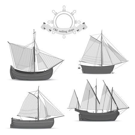 Set of realistic old sailing ships on white background
