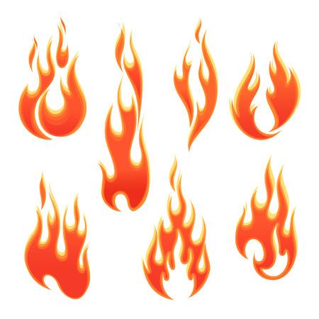 흰색 배경에 다른 모양의 화재 불길