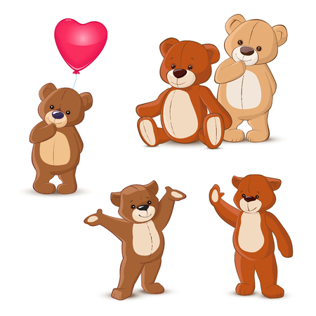 cute bear: Teddy bears set on white background Illustration