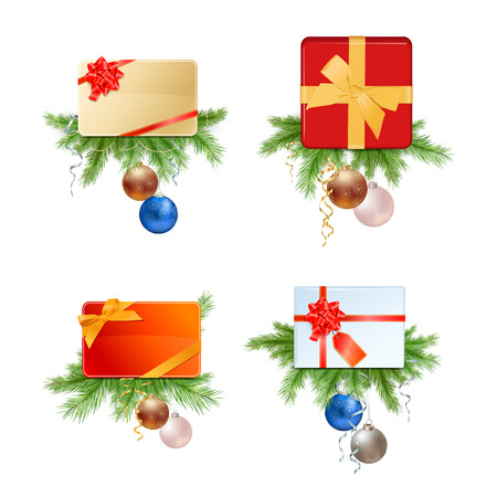Christmas Presents and Cards with Fir Branches and Decorations