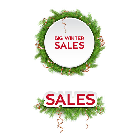 Winter Sale Design Template with Fir Tree Branches and Decorations