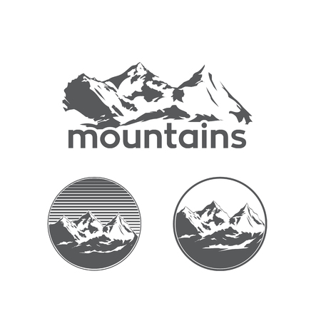 Mountains in Sketch Style on White Background Illustration