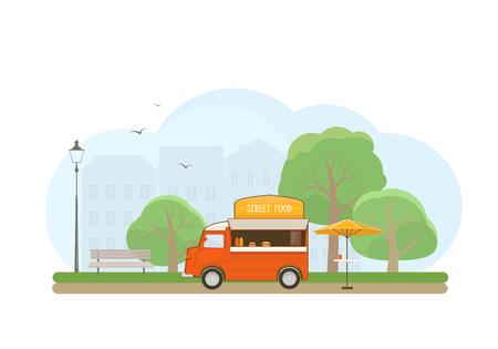 Street Food Truck in City Park. Flat Style Illustration.