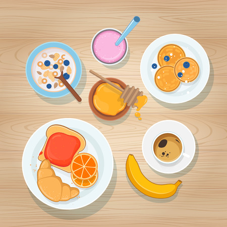 lay: Sweet Breakfast on Wooden Background. Top view