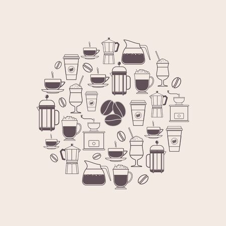 beverage menu: Coffee Types and Coffee Accessories Icons Set in Line Style Illustration
