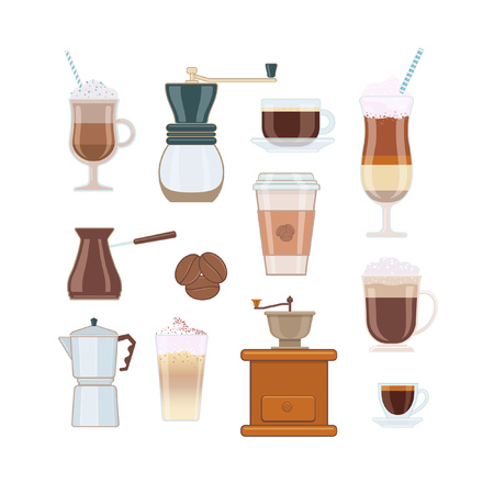 Set of Coffee Types and Coffee Accessories on White Background Illustration
