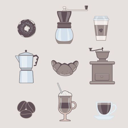Set of Coffee Types and Coffee Accessories