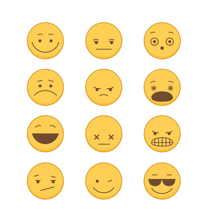 Emoticons icon Set in Flat Style Set of yellow emoticons on white background