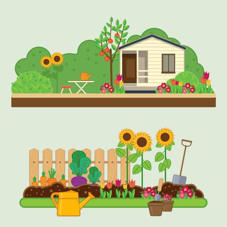 casa de campo: conjunto de jardinería. ilustraciones con el paisaje rural, flores, jardín, casa de campo y herramientas de jardín