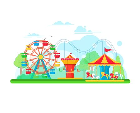 Amusement park concept with ferris wheel and carousels. illustration in flat style Illustration