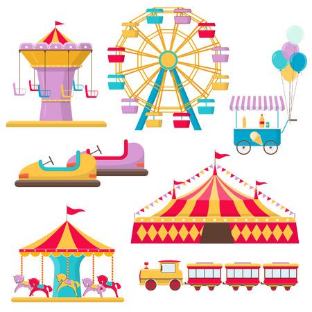 Set of amusement park elements on white background