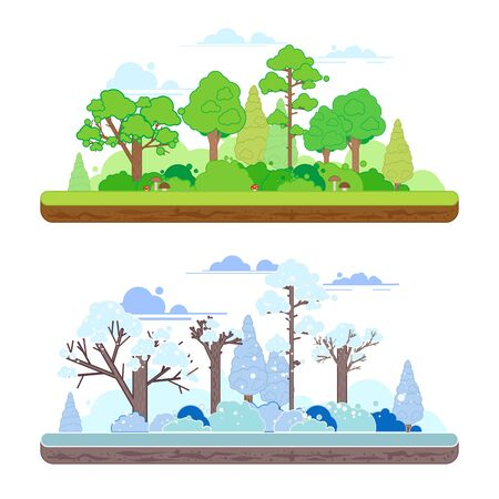 Winter and summer forest scenes in a y flat style. Two seasons concept with summer and winter landscapes Illustration