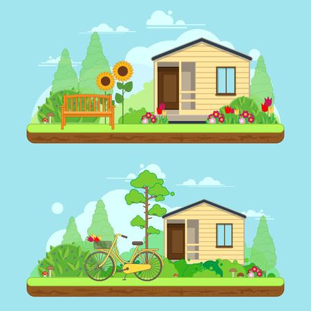 Scène le jour d'été dans le jardin. paysages d'été avec la maison, le vélo et les arbres. illustration dans le style plat Vecteurs
