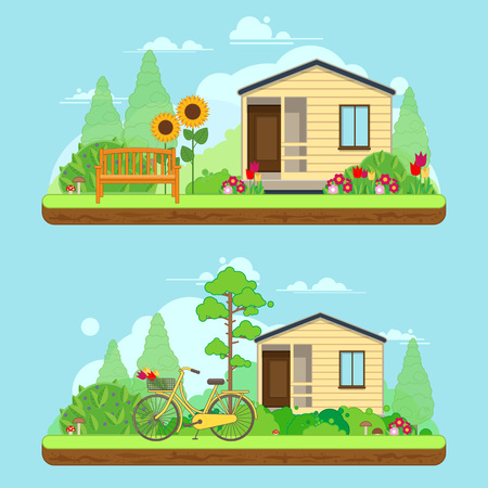 Scene on summer day in garden. Summer landscapes with house, bike and trees. illustration in flat style