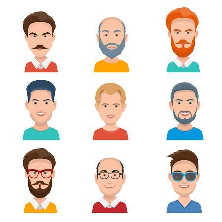 masculin: Conjunto de diferentes rostros masculinos Vectores