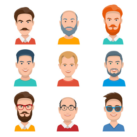 Set of Different Male Faces in a Flat Style
