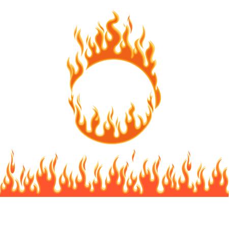 resplandor: llamas de fuego de diferentes formas en el fondo blanco Vectores