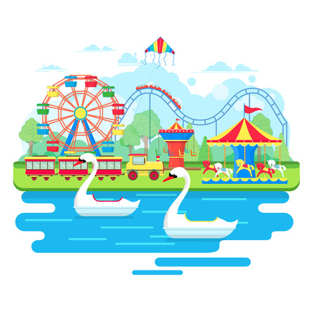 amusement park ride: Amusement park concept with ferris wheel and carousels. Vector illustration in flat style Illustration