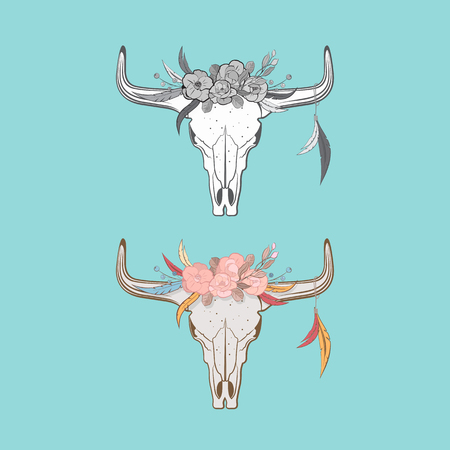 includes: Bull skulls with feathers and flowers in boho style. Includes color and black-and-white version. Illustration
