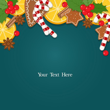 Christmas background with decorations, baking and sweets. Vector illustration with blank space for text Ilustrace