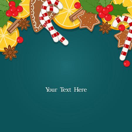 galletas de navidad: Fondo de Navidad con decoraciones, hornear y dulces. Ilustración del vector con el espacio en blanco para el texto Vectores
