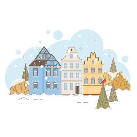 old houses: Winter Landscape With Old Houses. Vector Illustration. Illustration