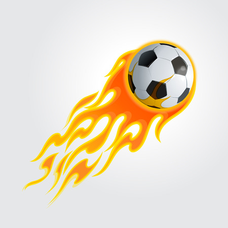 illustration of burning soccer ball on  light gray Vectores