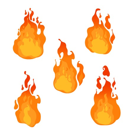 warn: Fire flames of different shapes on white background