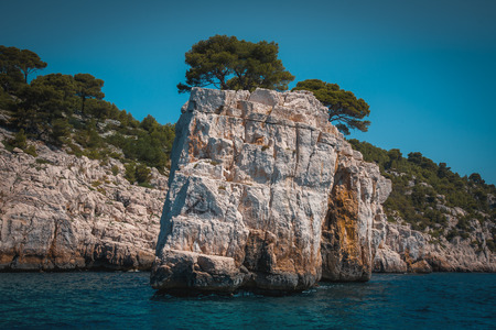 The Calanques National Park, South France. View of the cliffs from the sea. Stock Photo