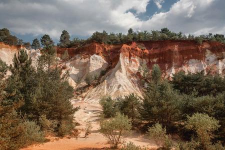 Ochre rocks at French Colorado, Rustrel, South France. Colorado Provencal de Rustrel
